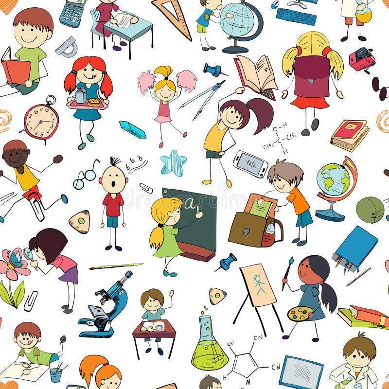 Dzieciak szkoły nakreślenia bezszwowy wzór ilustracja wektor