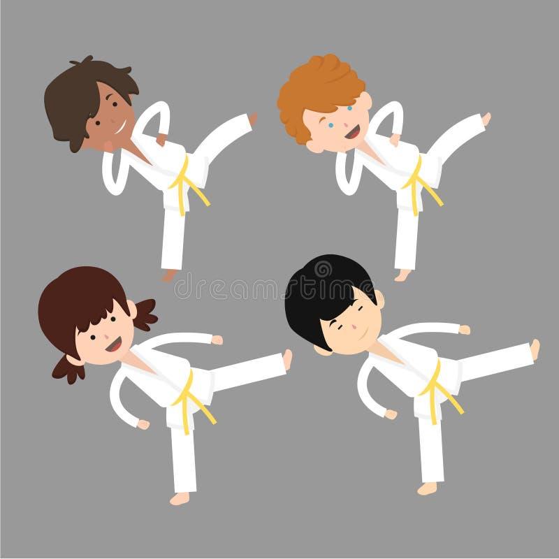 Dzieciak sztuk samoobrony klasowi postać z kreskówki ilustracji