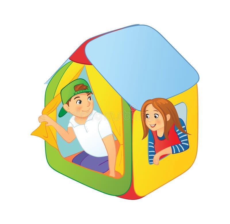 Dzieciak sztuka w children namiotowi royalty ilustracja