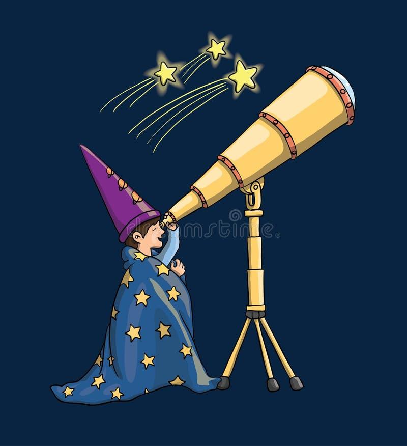 Dzieciak, teleskop, dziecko, wektor, bada, szuka, astrologist, stargazing, spojrzenie, gwiazdy, przestrzeń, chłopiec, tło, edukac zdjęcia royalty free