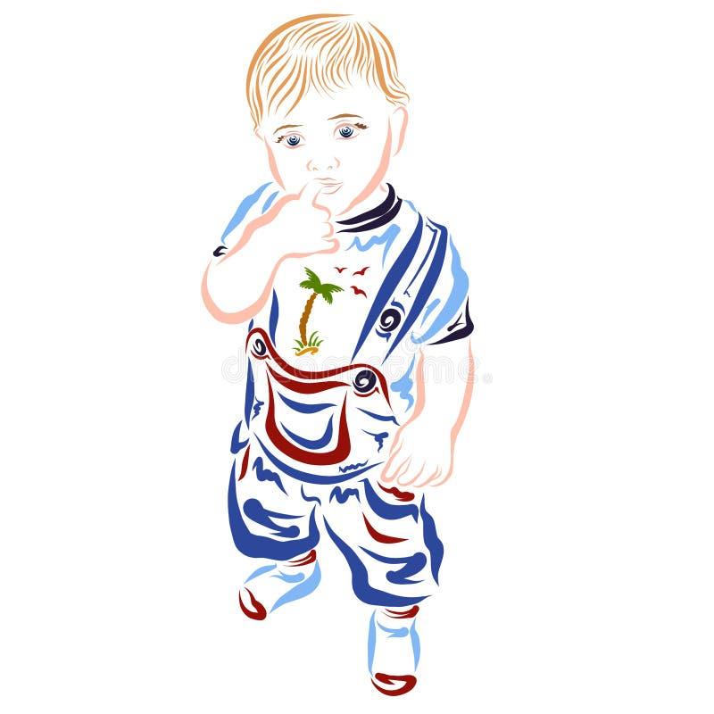 Dzieciak trzyma jego palec w jego usta chłopiec rozpamiętywa lub ono waha się royalty ilustracja