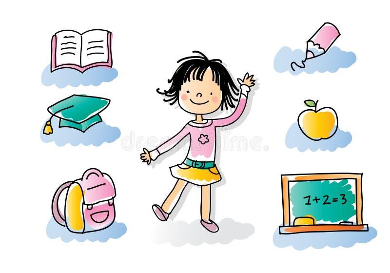 dzieciak tylna szkoła royalty ilustracja