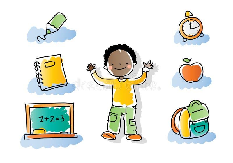 dzieciak tylna szkoła ilustracji
