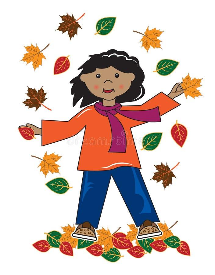 Dzieciak w liść amerykanin afrykańskiego pochodzenia dziewczynie ilustracji