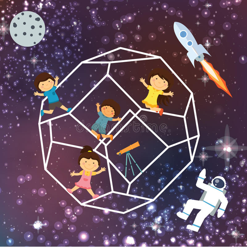 Dzieciak wyobraźni przestrzeni galaxy astrounout rakiety nieba piękny latanie gra główna rolę ilustracja wektor