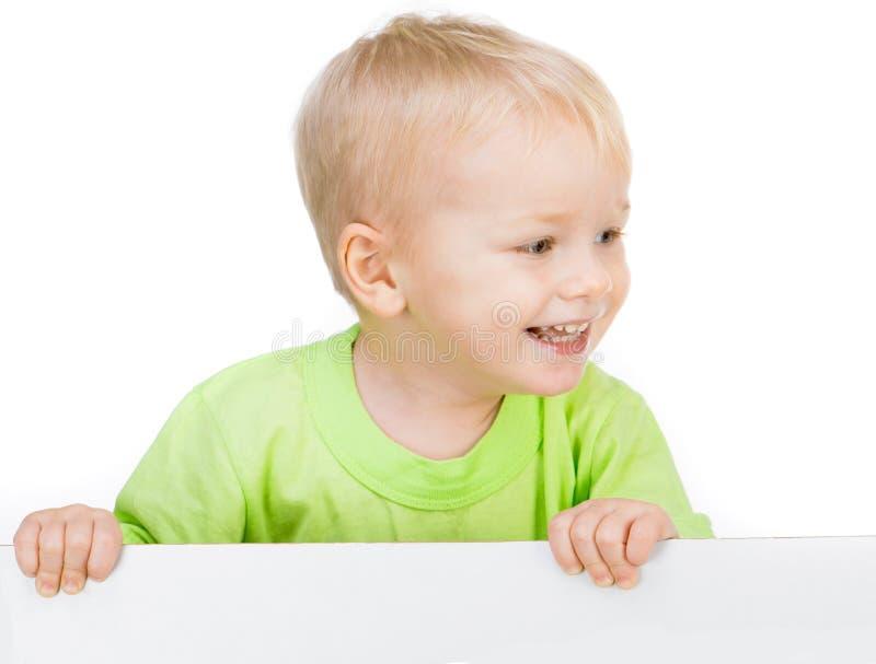 Dzieciak z białym sztandarem zdjęcia stock