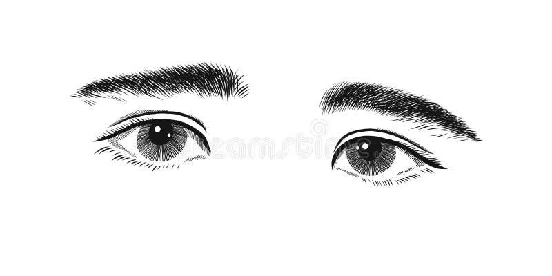 Dzieciak z nieśmiałym i smutnym oko troszkę Przygląda się emocje, nakreślenie wektorowych grafika monochromu rysunek ilustracja wektor