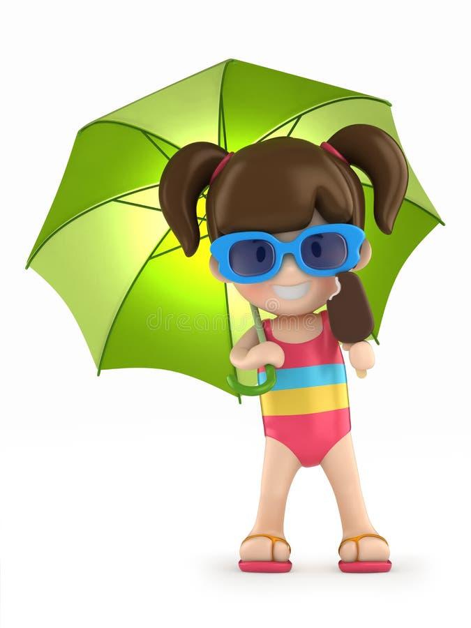 Dzieciak z parasolem royalty ilustracja