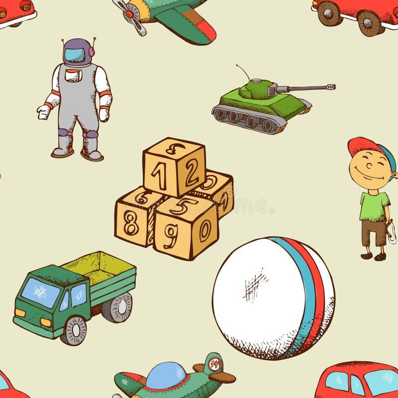 Dzieciak zabawek bezszwowy wzór royalty ilustracja