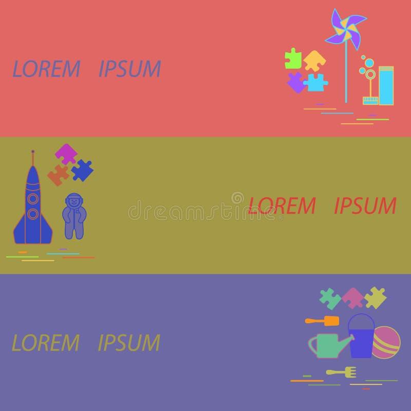 Dzieciak zabawek sztandary: podskakuje, intryguje, łyżkuje, grabije, podlewanie puszka, pi ilustracja wektor