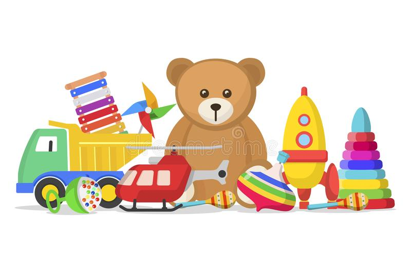 Dzieciak zabawki ustawiać ilustracja wektor
