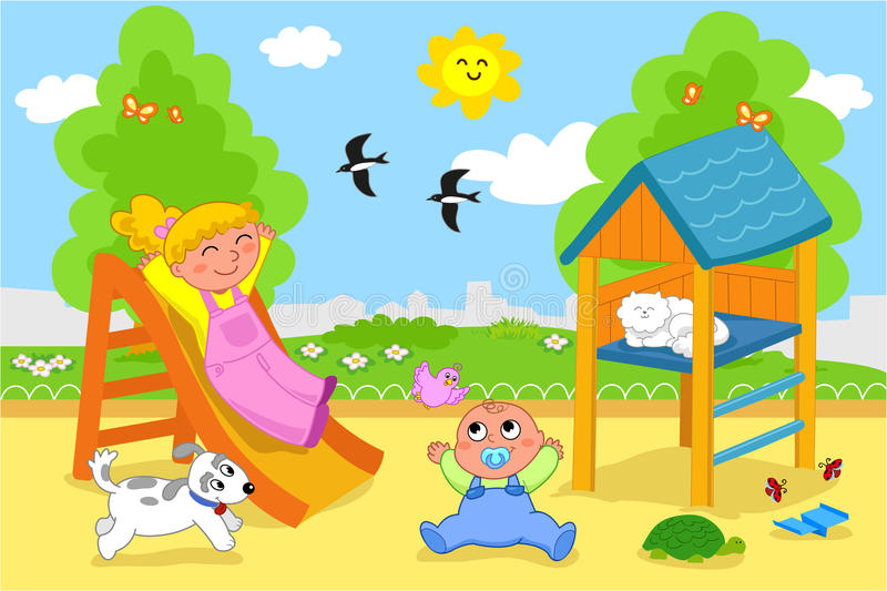 dzieciaka śliczny boisko ilustracja wektor