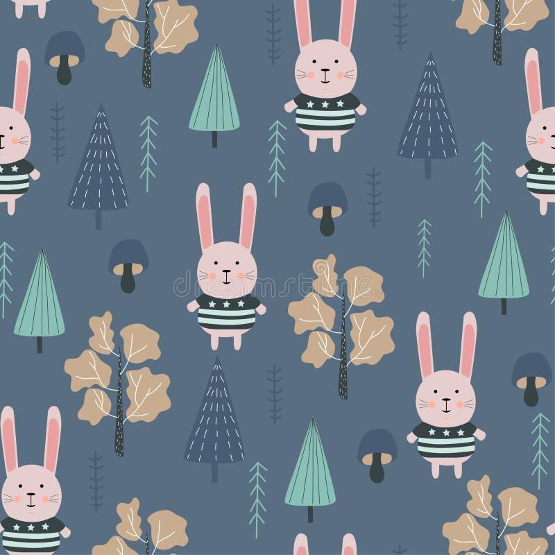 Dzieciaka bezszwowy wzór z ślicznym królikiem i przyrodą Wektorowy projekt, druk i tkaniny, royalty ilustracja