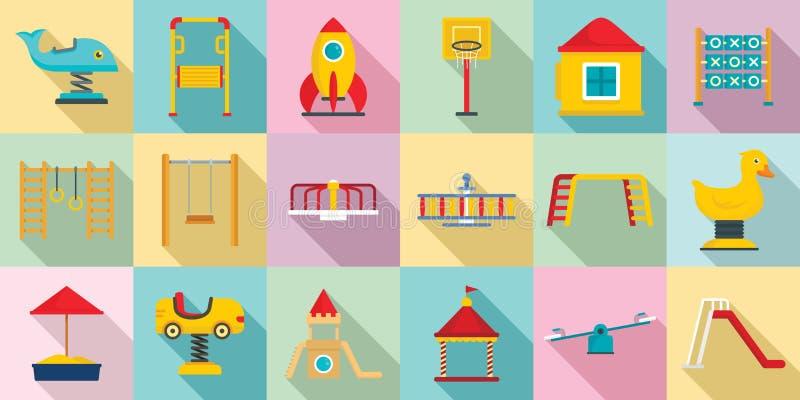 Dzieciaka boiska ikony set, mieszkanie styl ilustracji