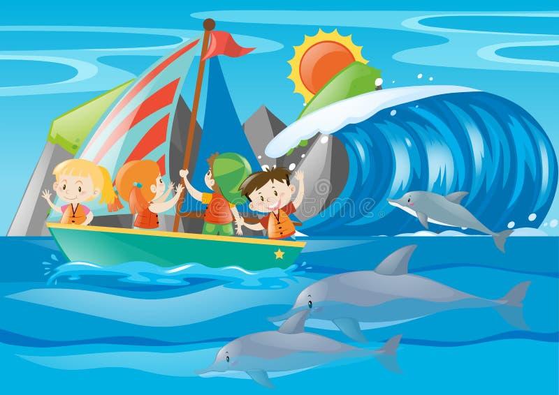 Dzieciaka delfin w oceanie i żeglować royalty ilustracja