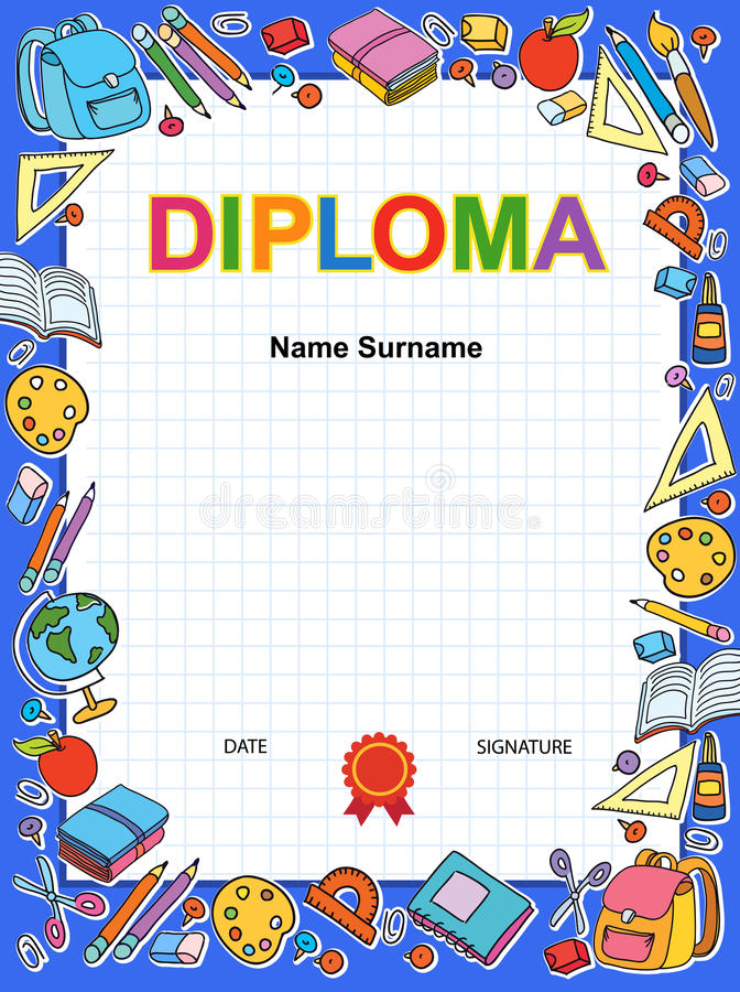 Dzieciaka dyplomu świadectwa tła projekta szablon royalty ilustracja