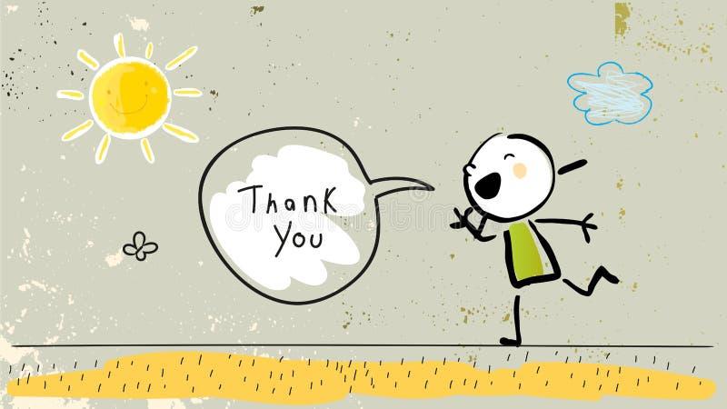 Dzieciaka gratefulness dziękuje ciebie karcianego ilustracja wektor