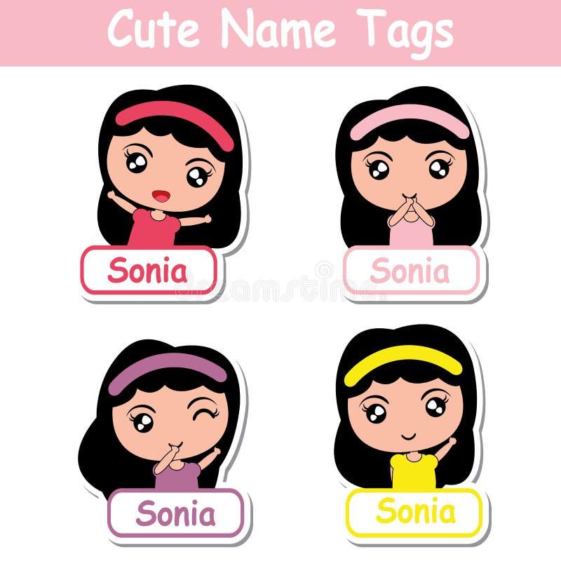 Dzieciaka imienia etykietek wektorowa kreskówka z ślicznymi kolorowymi dziewczynami stosownymi dla dziecka imienia etykietek ilustracji