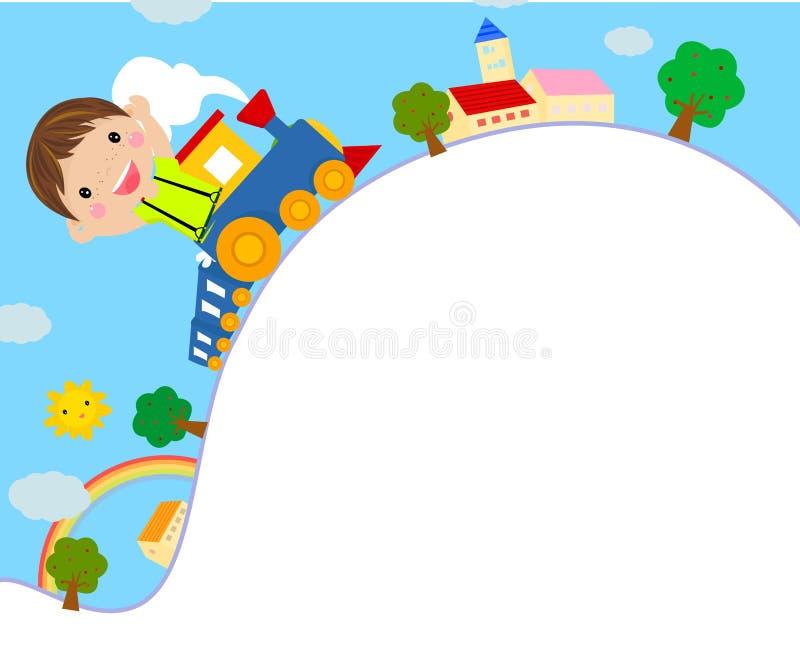 dzieciaka jazdy zabawki pociąg ilustracja wektor