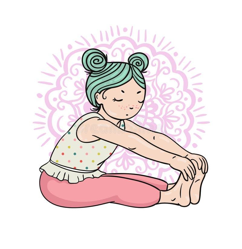 Dzieciaka joga logo Gimnastyki dla dzieci Zdrowy stylu życia plakat royalty ilustracja