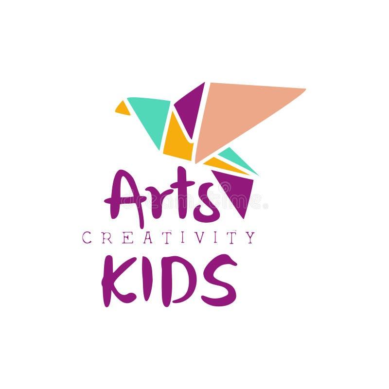 Dzieciaka Kreatywnie Klasowego szablonu Promocyjny logo Z Origami Bir, symbole sztuka i twórczość, royalty ilustracja