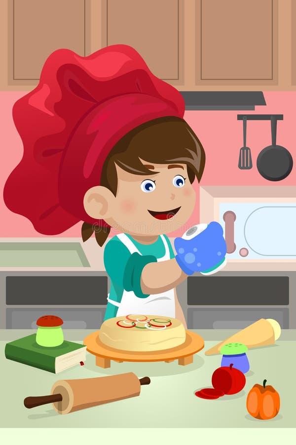 Dzieciaka kucharstwo w kuchni ilustracja wektor