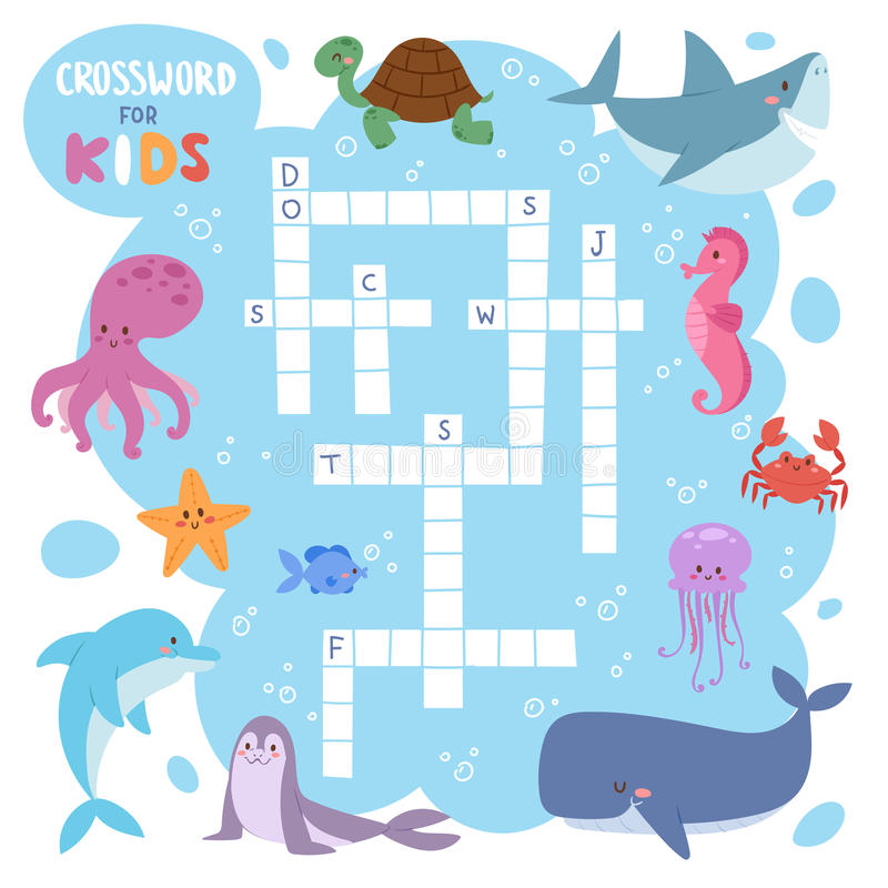 Dzieciaka magazynu książki łamigłówki gra denny podwodny ocean ryba i zwierzęcia crossword logicznego worksheet kolorowy printabl ilustracja wektor