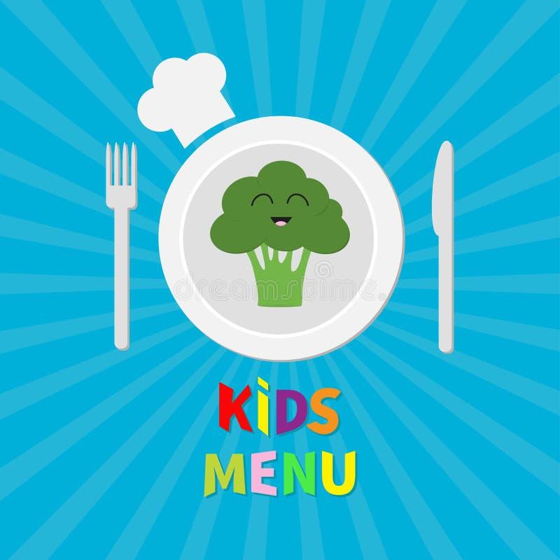 Dzieciaka menu karta Rozwidla, matrycuje, noża i szefa kuchni kapeluszu ikona, Brokuł jarzynowa twarz Ślicznej kreskówki uśmiechn ilustracja wektor