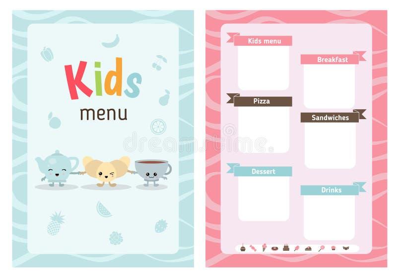 Dzieciaka menu projekt ilustracja wektor