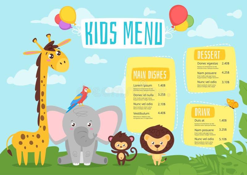 Dzieciaka menu projekta karmowy szablon royalty ilustracja