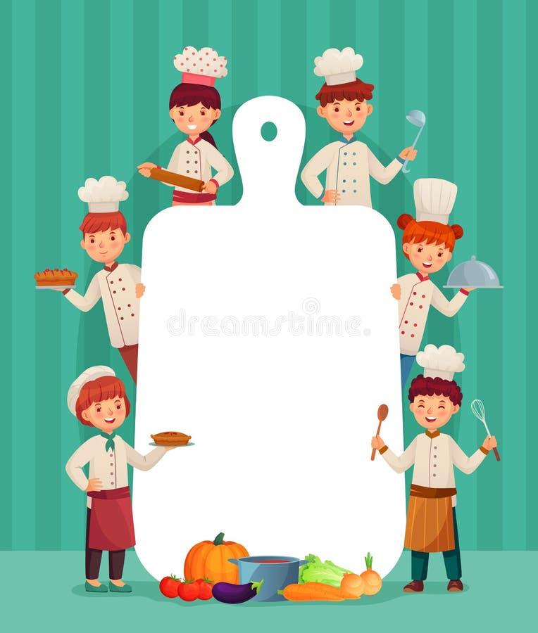 Dzieciaka menu rama Dziecko szefów kuchni kucharz z tnącą deską, restauracyjnym szefem kuchni i ciapanie kreskówki wektoru karmow ilustracji