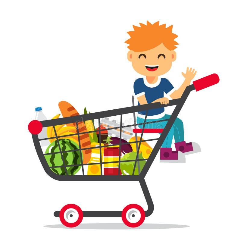 Dzieciaka obsiadanie w supermarketa wózek na zakupy ilustracji