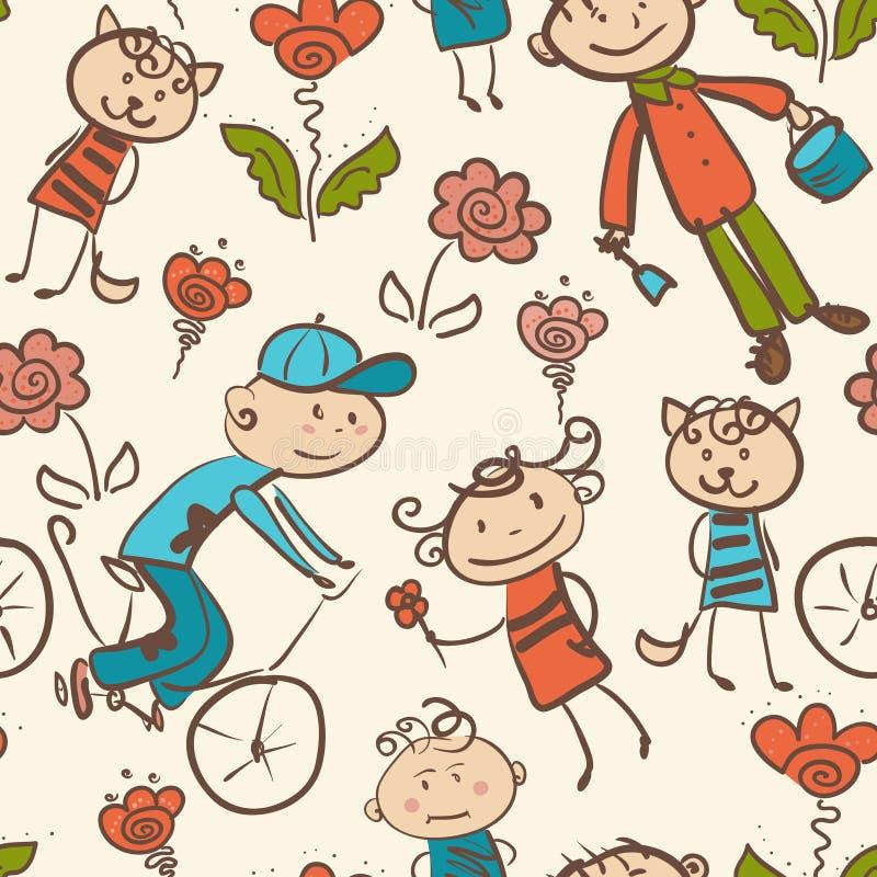 Dzieciaka plenerowy rekreacyjny bezszwowy wzór zdjęcia royalty free