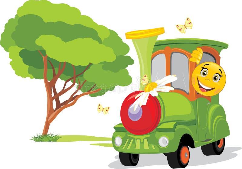Dzieciaka pociąg w parku rozrywki Pogodny dzieciństwo jest zawsze z ja ilustracja wektor