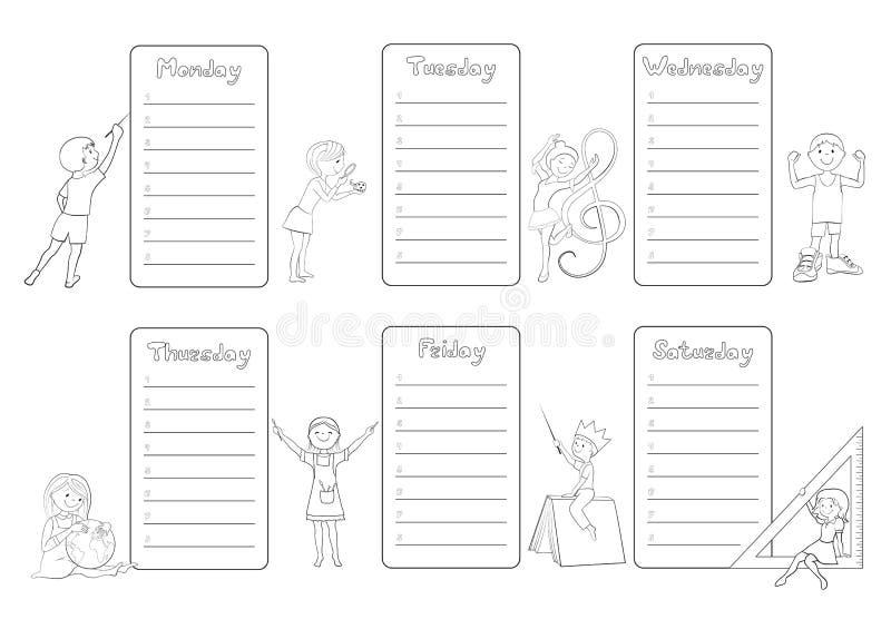 Dzieciaka rozkładu zajęć planisty kolorystyki strony tygodniowy wektor ilustracja wektor