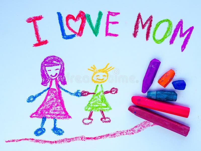 Dzieciaka rysunek macierzysty mienie jej córka zdjęcie royalty free