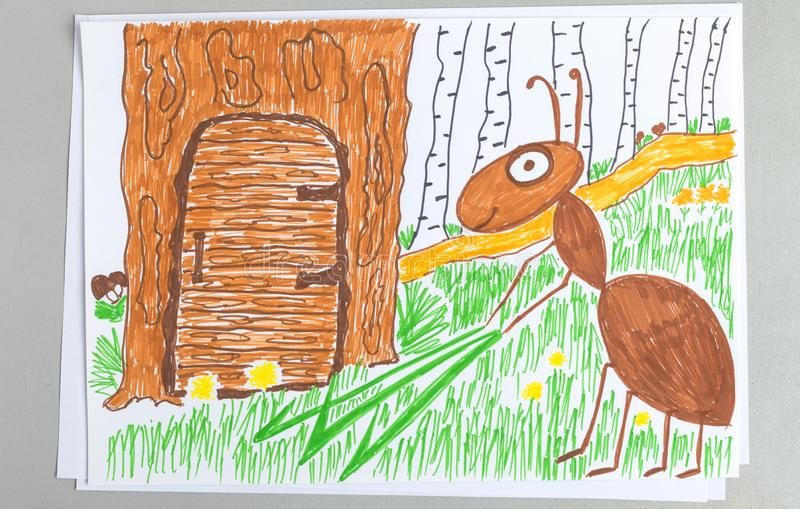Dzieciaka rysunek mrówki mienia zieleni ostrze trawa blisko drzwi jego dom w drzewie ilustracji