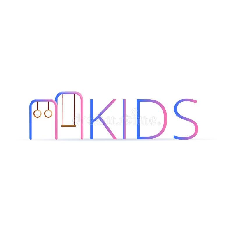 Dzieciaka sporta pierścionki huśtawkowy logo, kreskówka styl ilustracja wektor