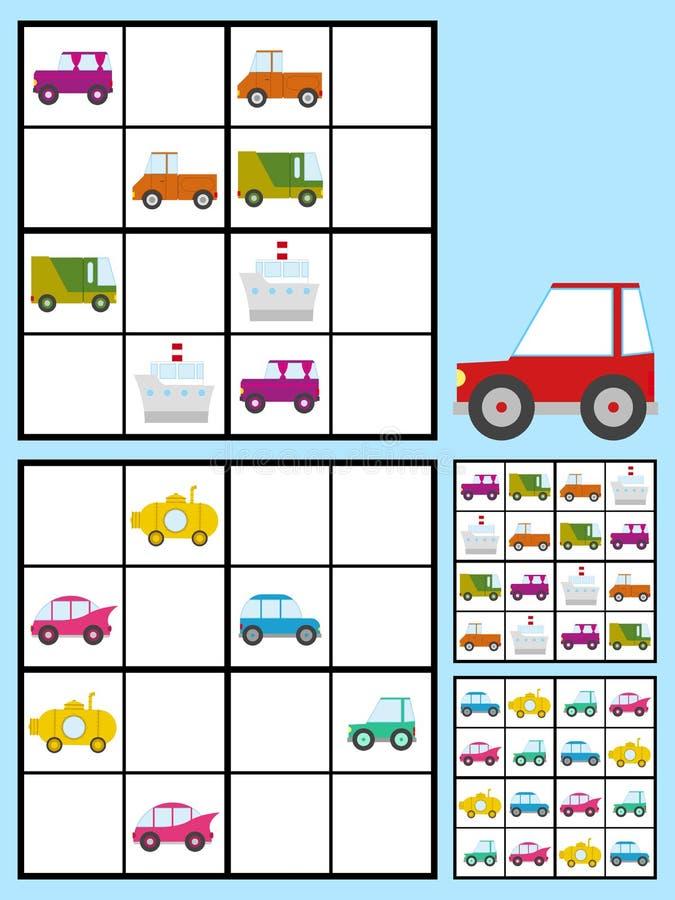 Dzieciaka sudoku łamigłówka z samochodów samochodami royalty ilustracja