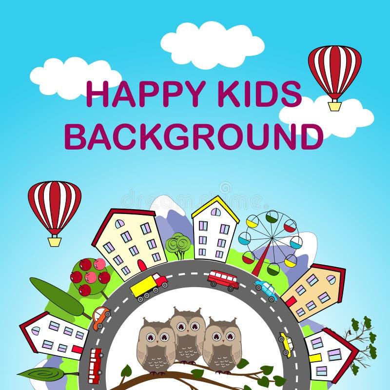 Dzieciaka tło z szczęśliwym miastem i śliczne sowy w przodzie ilustracja wektor