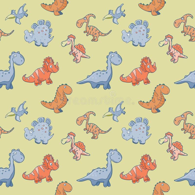 Dzieciaka wektoru wzór z śmiesznymi ślicznymi dinosaurami ilustracja wektor