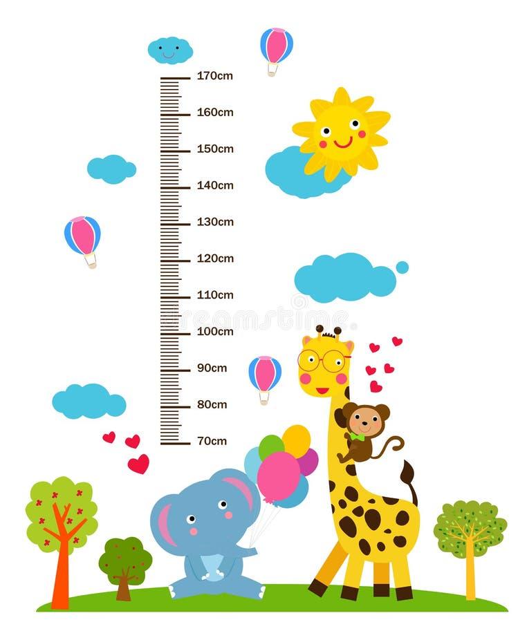 Dzieciaka wzrosta skala z śmiesznymi zwierzętami royalty ilustracja