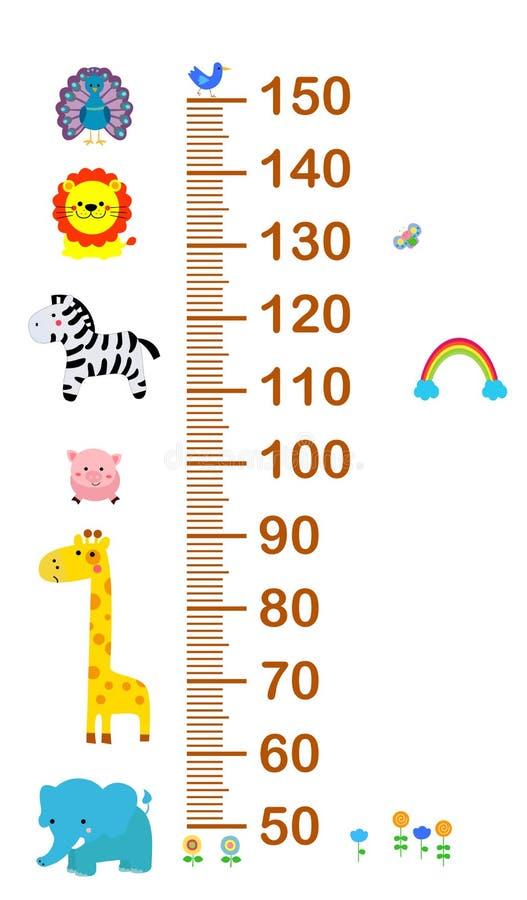 Dzieciaka wzrosta skala z śmiesznymi zwierzętami ilustracji