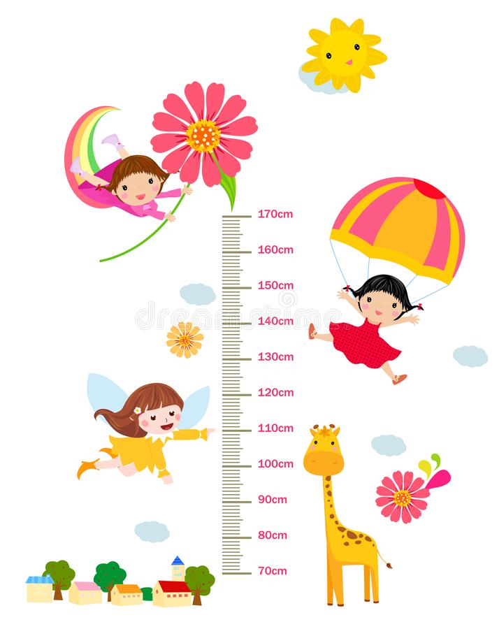 Dzieciaka wzrosta skala z śmiesznymi zwierzętami i dziećmi royalty ilustracja