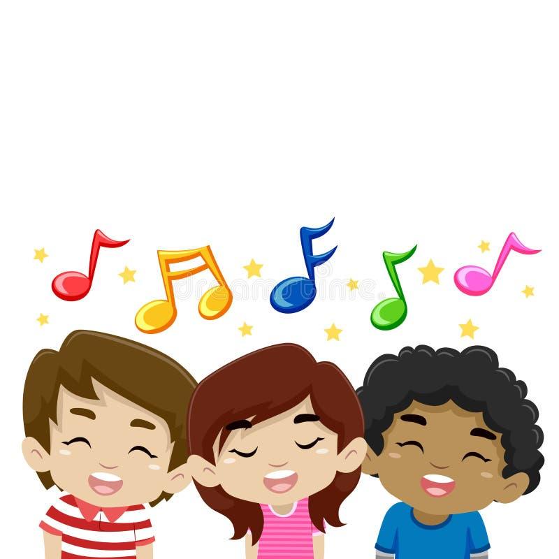 Dzieciaki Śpiewa z Muzycznymi notatkami royalty ilustracja
