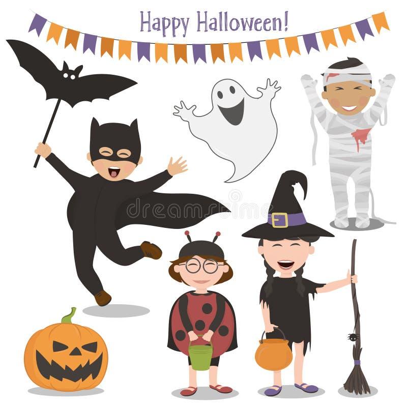 Dzieciaki świętuje Halloween w kostiumach ilustracji