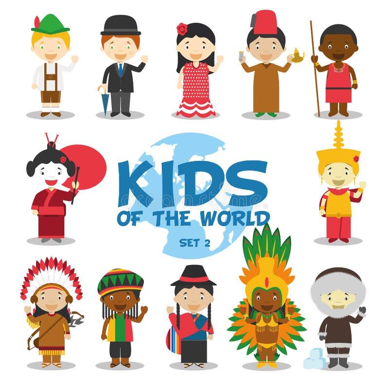 Dzieciaki światowa ilustracja: Narodowości Ustawiają 2 Set 12 charakteru ubierał w różnych krajowych kostiumach ilustracja wektor