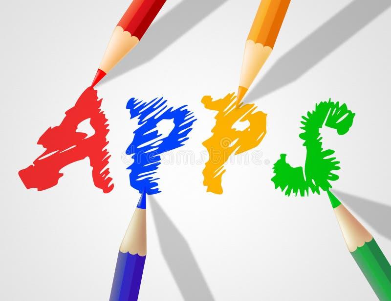 Dzieciaki Apps Pokazują Podaniowego oprogramowanie I zastosowania ilustracja wektor