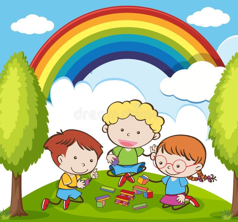 Dzieciaki Bawić się cegłę w ogródzie w Pięknym dniu royalty ilustracja