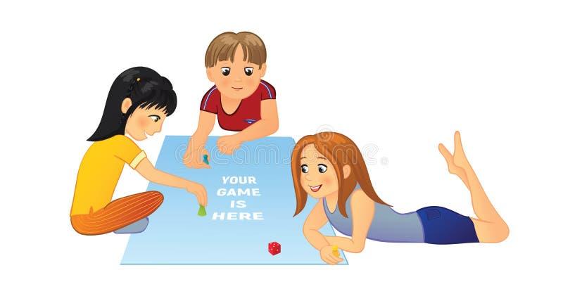 Dzieciaki Bawić się grę planszowa ilustracja wektor